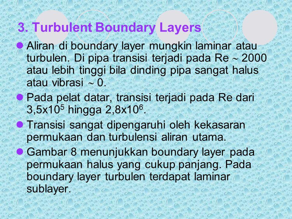 3. Turbulent Boundary Layers Aliran di boundary layer mungkin laminar atau turbulen. Di pipa transisi terjadi pada Re  2000 atau lebih tinggi bila di