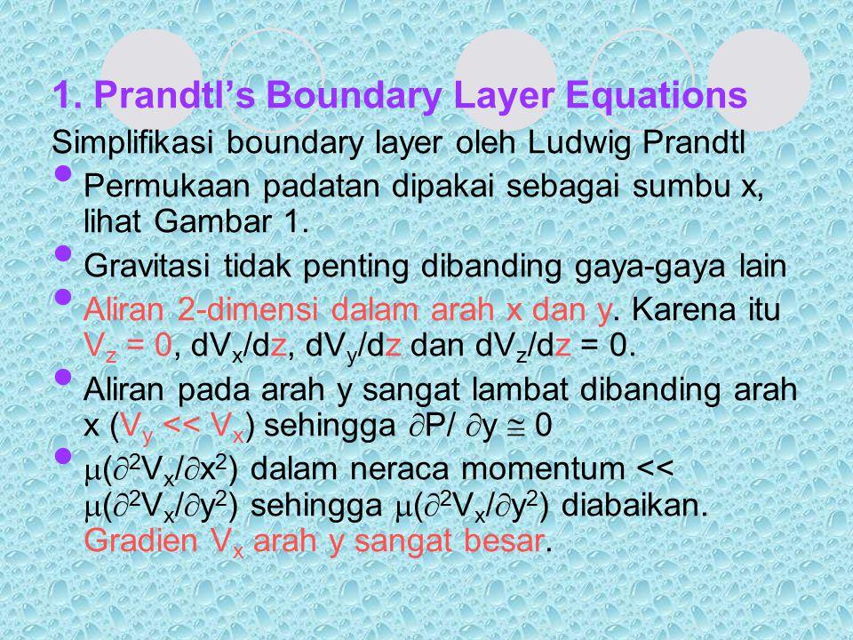 1. Prandtl's Boundary Layer Equations Simplifikasi boundary layer oleh Ludwig Prandtl Permukaan padatan dipakai sebagai sumbu x, lihat Gambar 1. Gravi