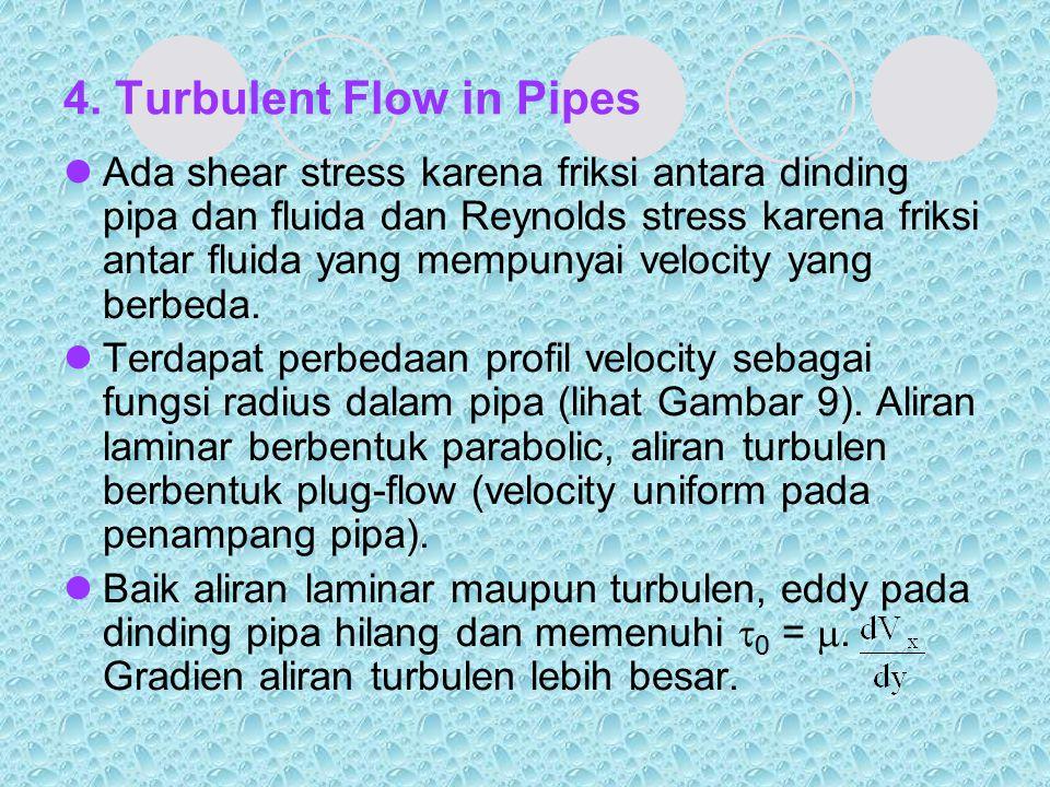4. Turbulent Flow in Pipes Ada shear stress karena friksi antara dinding pipa dan fluida dan Reynolds stress karena friksi antar fluida yang mempunyai