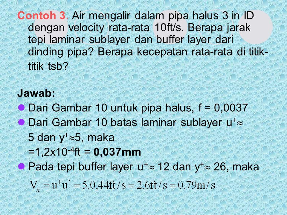 Contoh 3. Air mengalir dalam pipa halus 3 in ID dengan velocity rata-rata 10ft/s. Berapa jarak tepi laminar sublayer dan buffer layer dari dinding pip