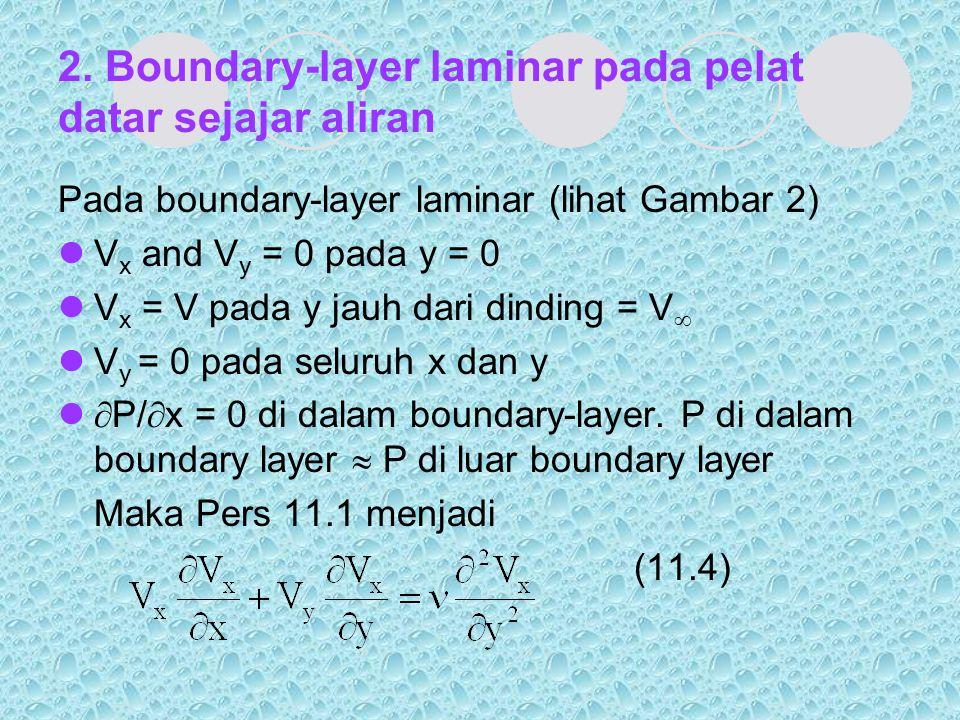 2. Boundary-layer laminar pada pelat datar sejajar aliran Pada boundary-layer laminar (lihat Gambar 2) V x and V y = 0 pada y = 0 V x = V pada y jauh
