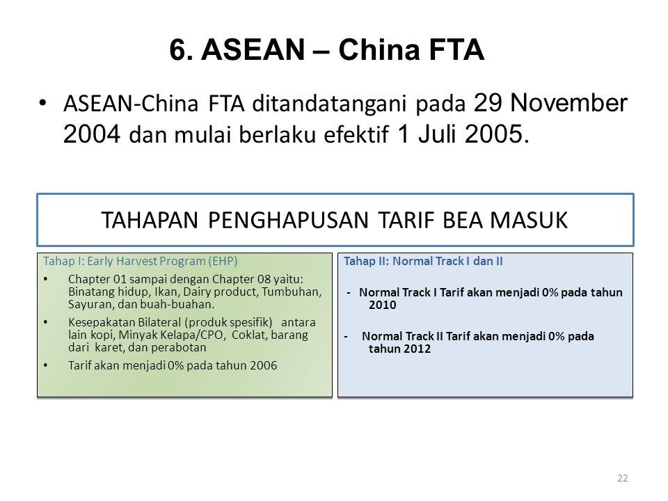 6. ASEAN – China FTA ASEAN-China FTA ditandatangani pada 29 November 2004 dan mulai berlaku efektif 1 Juli 2005. 22 Tahap I: Early Harvest Program (EH