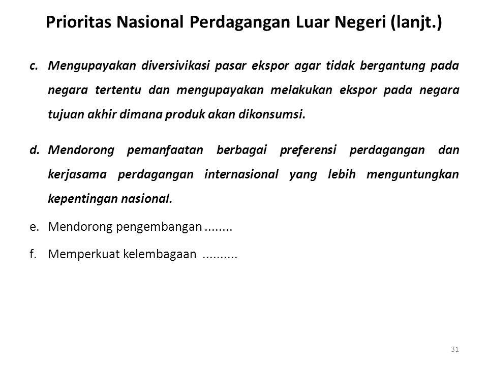 Prioritas Nasional Perdagangan Luar Negeri (lanjt.) c.Mengupayakan diversivikasi pasar ekspor agar tidak bergantung pada negara tertentu dan mengupaya