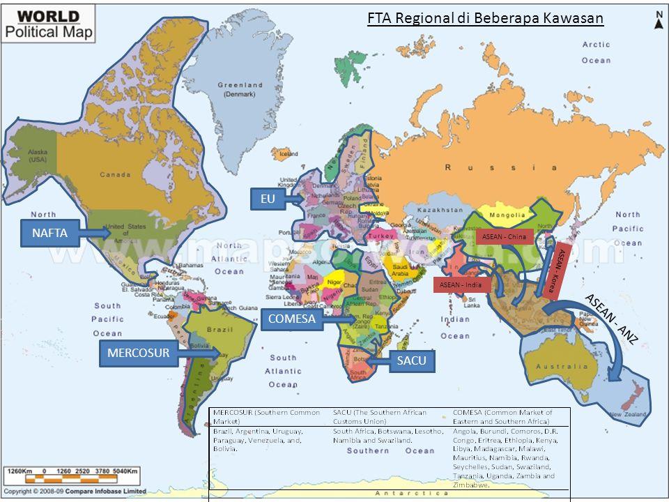 Jumlah RTA Dunia 18 Terdapat Korelasi antara Perubahan Pangsa Perdagangan Dunia dan Peningkatan Jumlah RTA Pangsa Perdagangan Total Dunia Menurut Kawasan