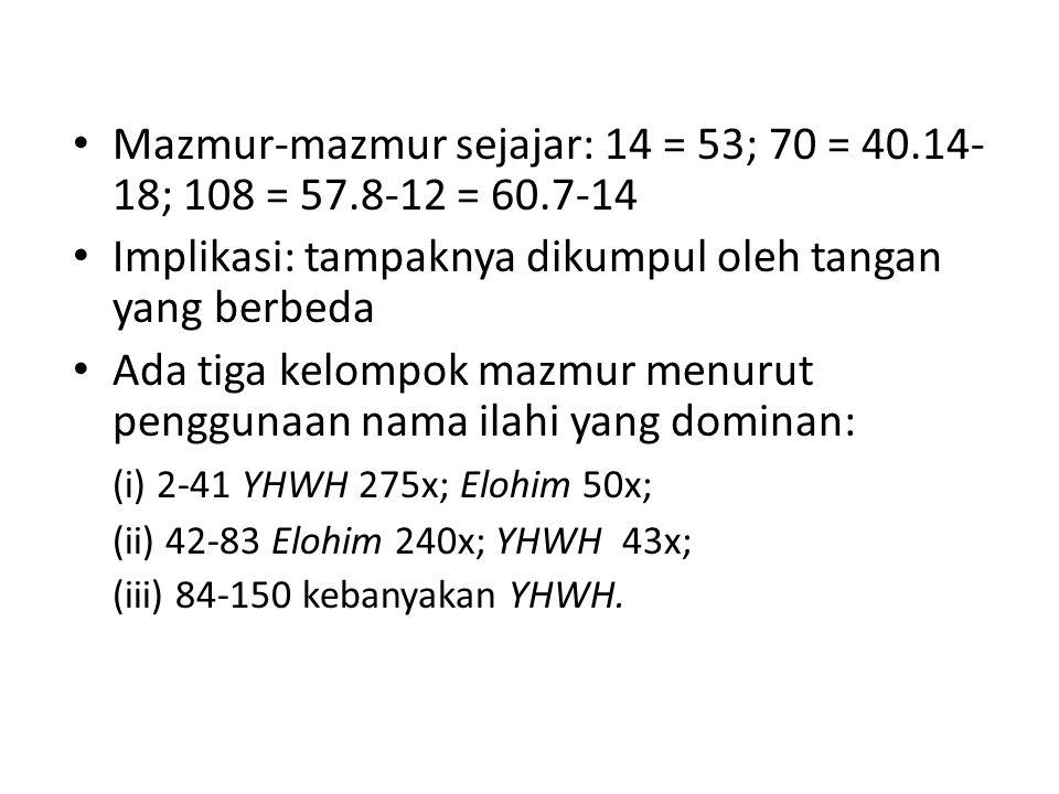 Mazmur-mazmur sejajar: 14 = 53; 70 = 40.14- 18; 108 = 57.8-12 = 60.7-14 Implikasi: tampaknya dikumpul oleh tangan yang berbeda Ada tiga kelompok mazmu