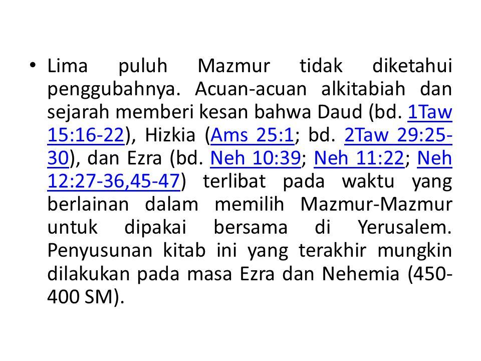 Mazmur hikmat & Taurat Mazmur-mazmur ini bersifat mengajar atau merenungkan Taurat (37, 49, 73, 112, 127, 128, 133 dan 1, 19, 119).