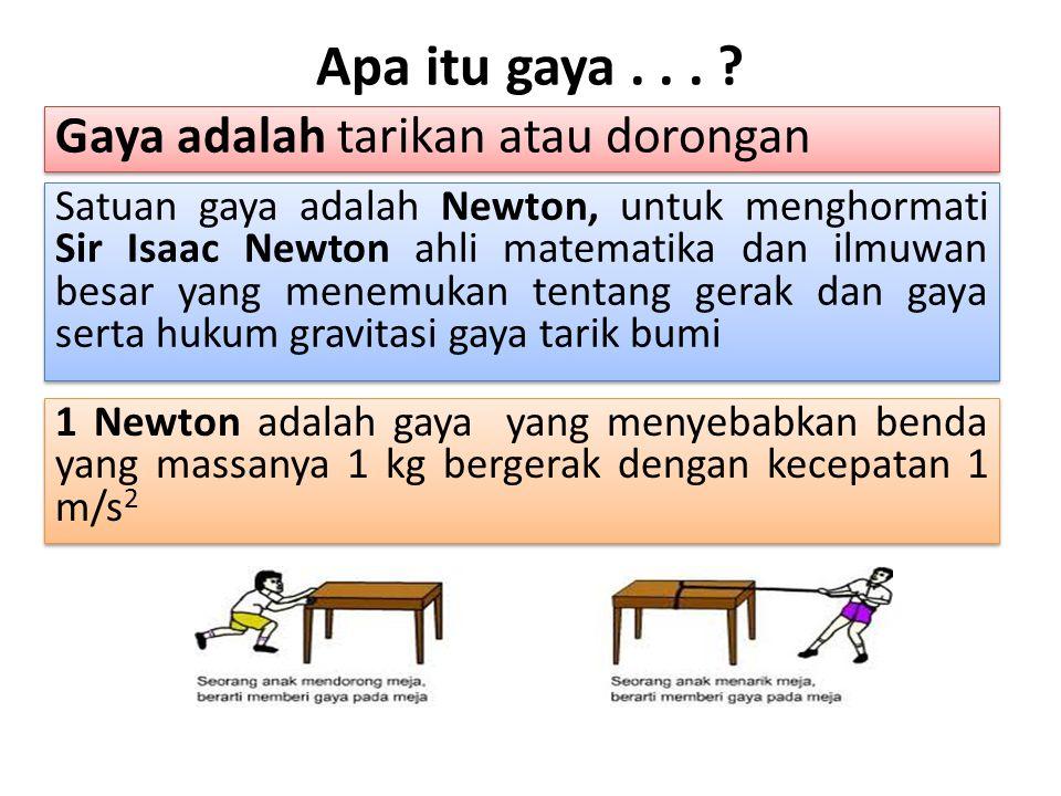 Apa itu gaya... ? Gaya adalah tarikan atau dorongan Satuan gaya adalah Newton, untuk menghormati Sir Isaac Newton ahli matematika dan ilmuwan besar ya