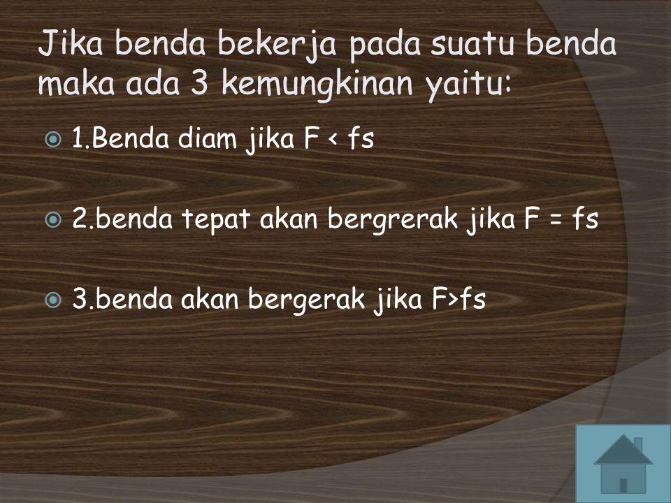Jika benda bekerja pada suatu benda maka ada 3 kemungkinan yaitu:  1.Benda diam jika F < fs  2.benda tepat akan bergrerak jika F = fs  3.benda akan bergerak jika F>fs