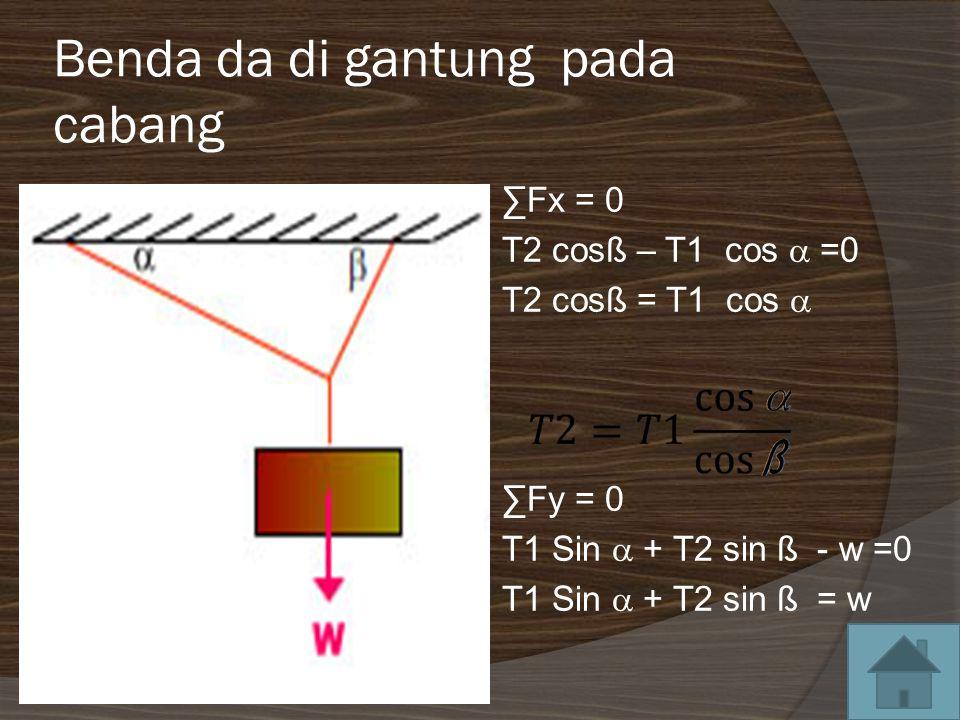 Benda da di gantung pada cabang ∑Fx = 0 T2 cosß – T1 cos  =0 T2 cosß = T1 cos  ∑Fy = 0 T1 Sin  + T2 sin ß - w =0 T1 Sin  + T2 sin ß = w