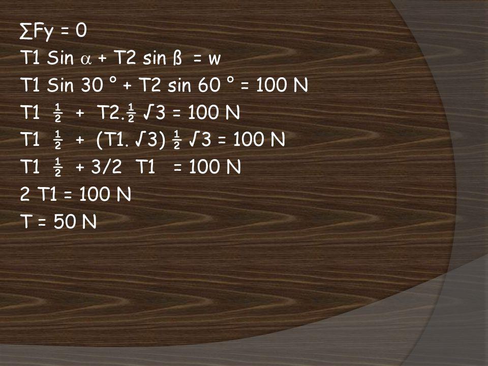 ∑Fy = 0 T1 Sin  + T2 sin ß = w T1 Sin 30 ° + T2 sin 60 ° = 100 N T1 ½ + T2.½ √3 = 100 N T1 ½ + (T1.