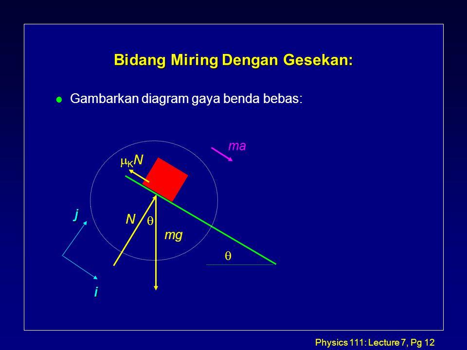 Physics 111: Lecture 7, Pg 12 Bidang Miring Dengan Gesekan: l Gambarkan diagram gaya benda bebas:  i j mg N KNKN ma 