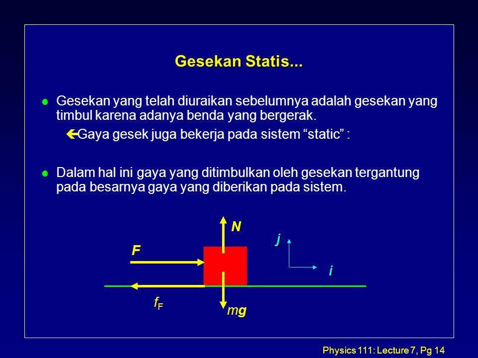 Physics 111: Lecture 7, Pg 14 Gesekan Statis...