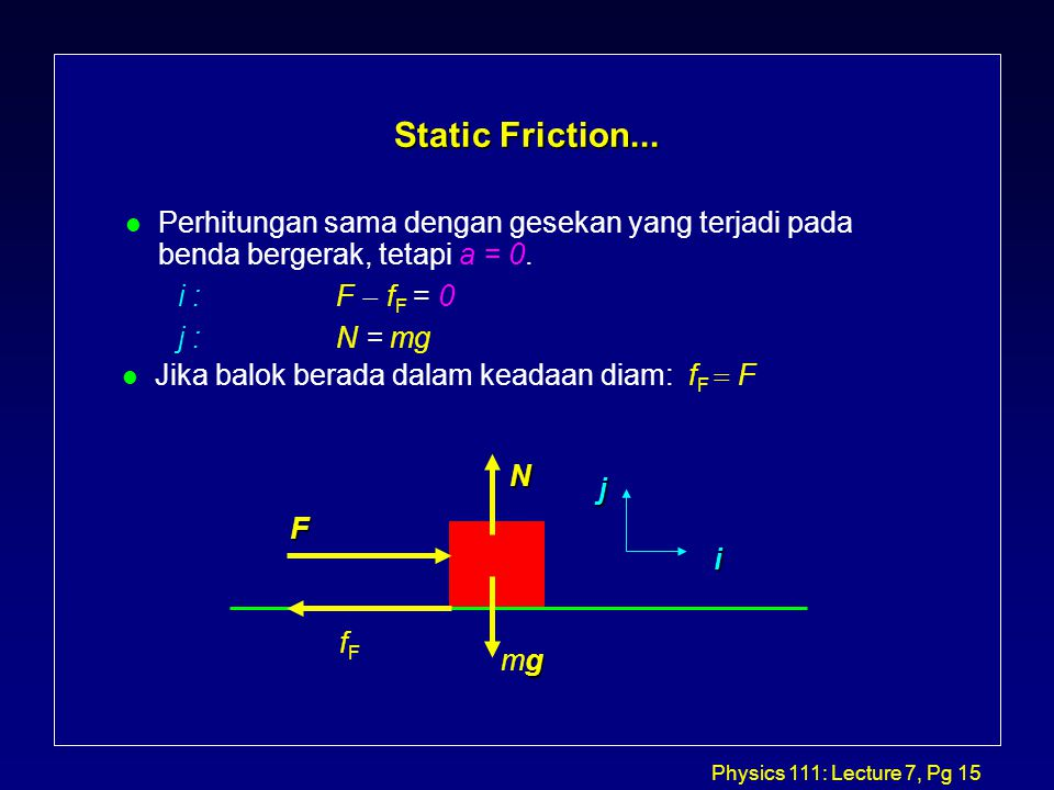 Physics 111: Lecture 7, Pg 15 Static Friction...