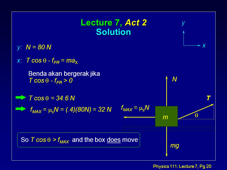 Physics 111: Lecture 7, Pg 20 Lecture 7, Act 2 Solution T m f MAX =  s N N mg y x x: T cos  - f FR = ma X y: N = 80 N Benda akan bergerak jika T cos  - f FR > 0 T cos  = 34.6 N f MAX =  s N = (.4)(80N) = 32 N So T cos  > f MAX and the box does move 