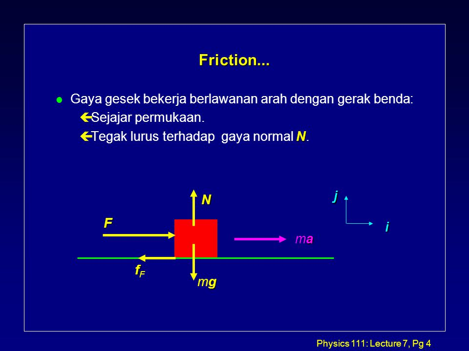 Physics 111: Lecture 7, Pg 4 Friction...