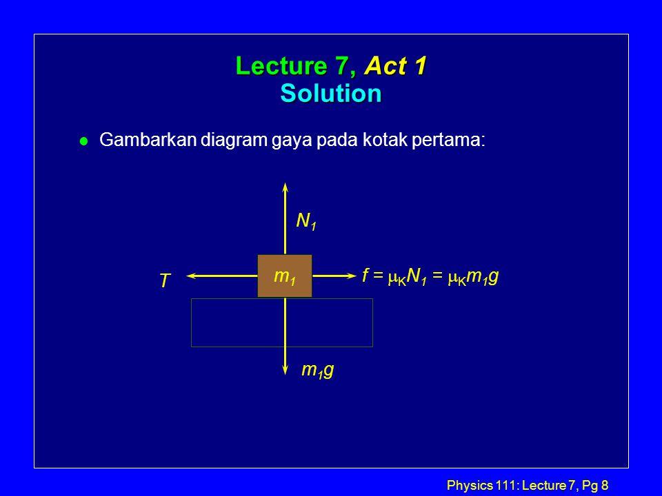 Physics 111: Lecture 7, Pg 8 Lecture 7, Act 1 Solution l Gambarkan diagram gaya pada kotak pertama: m1m1 N1N1 m1gm1g T f =  K N 1 =  K m 1 g