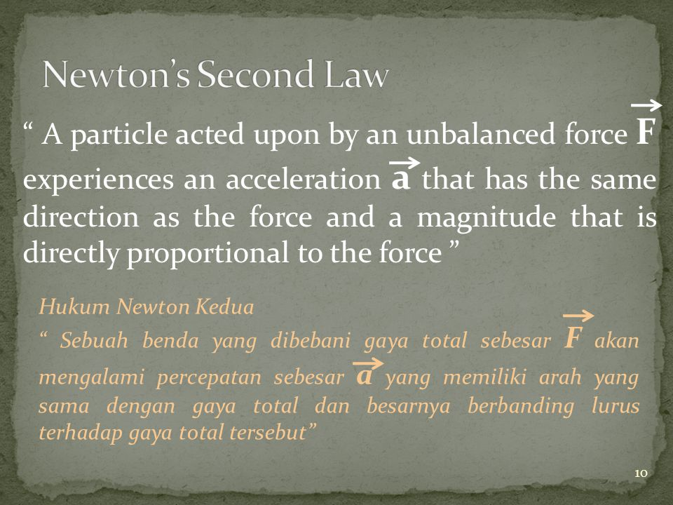 A particle acted upon by an unbalanced force F experiences an acceleration a that has the same direction as the force and a magnitude that is directly proportional to the force Hukum Newton Kedua Sebuah benda yang dibebani gaya total sebesar F akan mengalami percepatan sebesar a yang memiliki arah yang sama dengan gaya total dan besarnya berbanding lurus terhadap gaya total tersebut 10