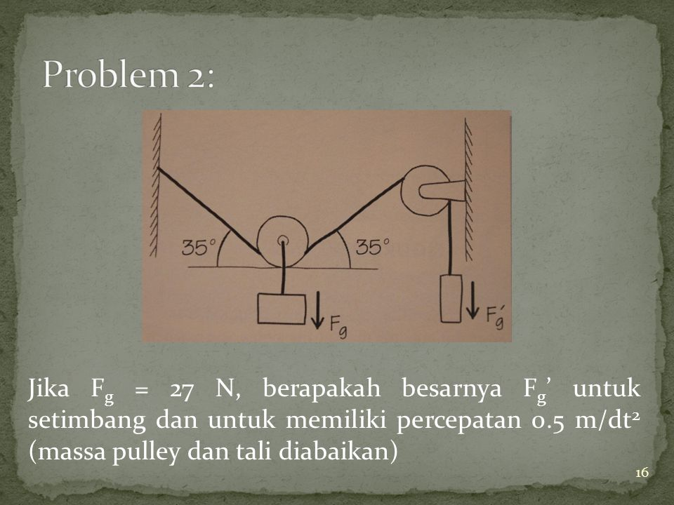 Jika F g = 27 N, berapakah besarnya F g ' untuk setimbang dan untuk memiliki percepatan 0.5 m/dt 2 (massa pulley dan tali diabaikan) 16