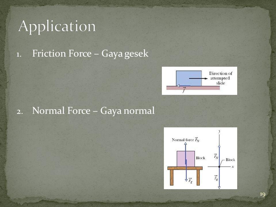 1. Friction Force – Gaya gesek 2. Normal Force – Gaya normal 19