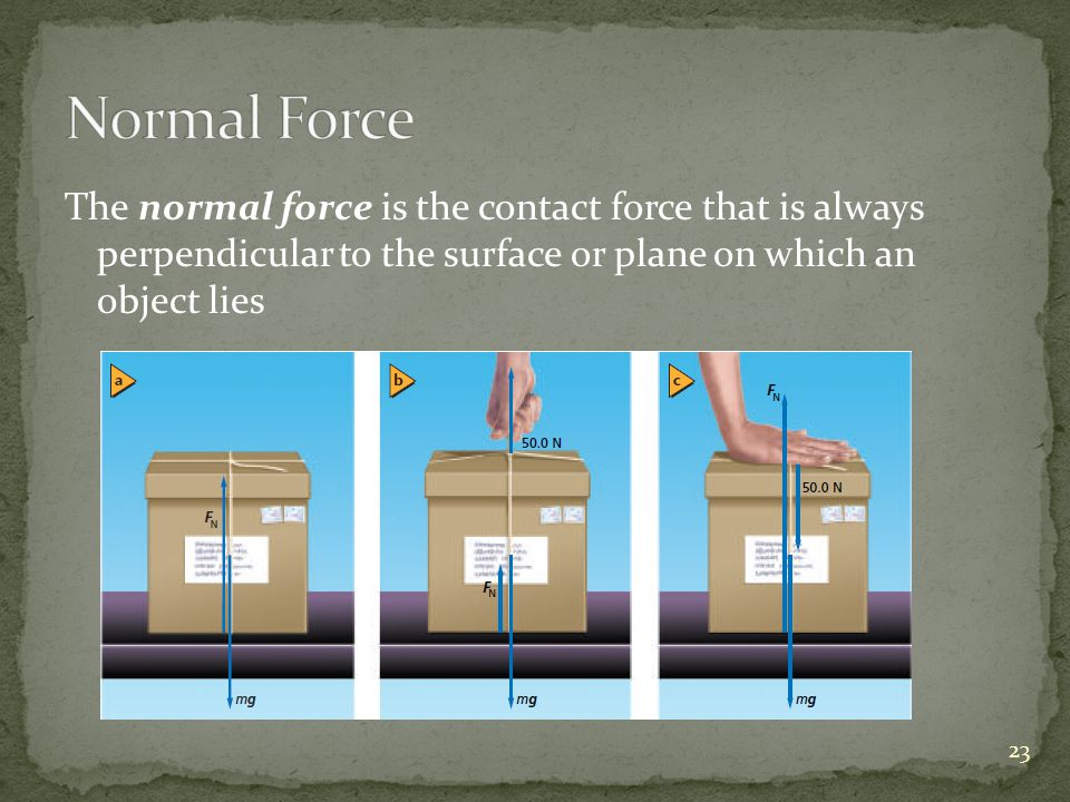 The normal force is the contact force that is always perpendicular to the surface or plane on which an object lies 23