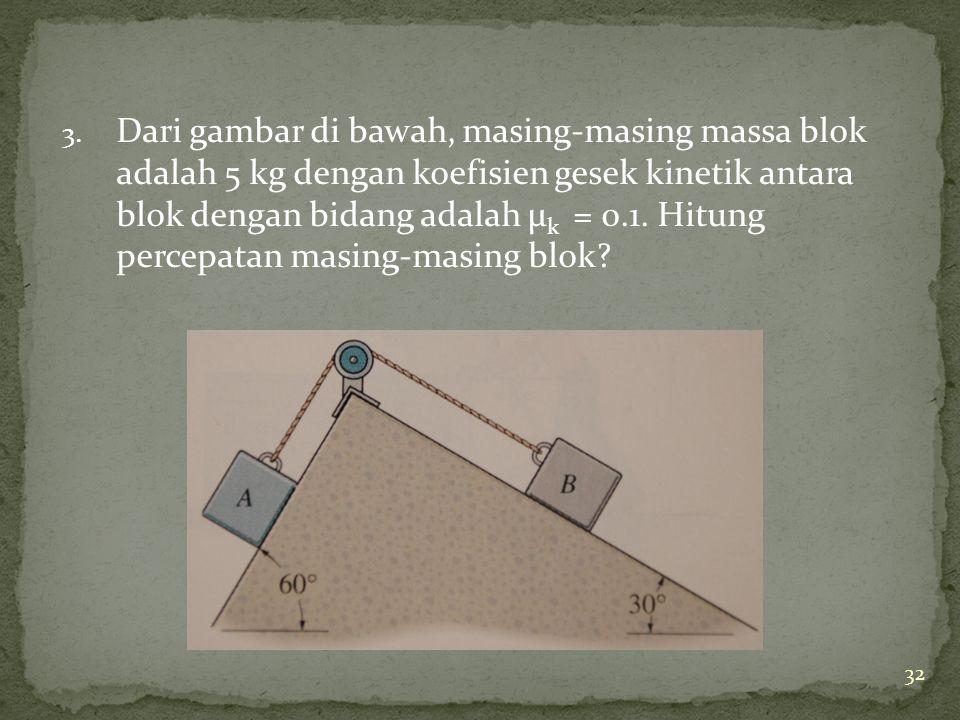 3. Dari gambar di bawah, masing-masing massa blok adalah 5 kg dengan koefisien gesek kinetik antara blok dengan bidang adalah μ k = 0.1. Hitung percep