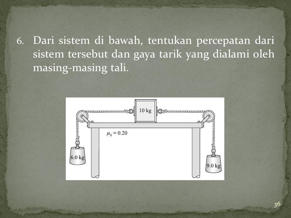 6. Dari sistem di bawah, tentukan percepatan dari sistem tersebut dan gaya tarik yang dialami oleh masing-masing tali. 36