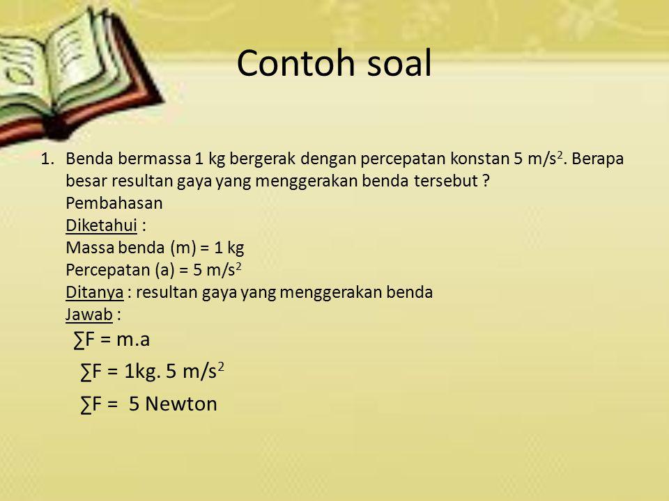 2.Sebuah balok mempunyai massa 2kg, yang didorong ke arah kanan sebesar 5 N dan kearah kiri sebesar 3 N.