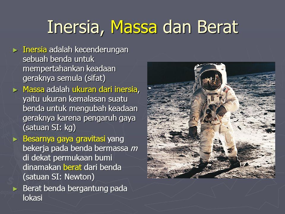 Inersia, Massa dan Berat ► Inersia adalah kecenderungan sebuah benda untuk mempertahankan keadaan geraknya semula (sifat) ► Massa adalah ukuran dari i
