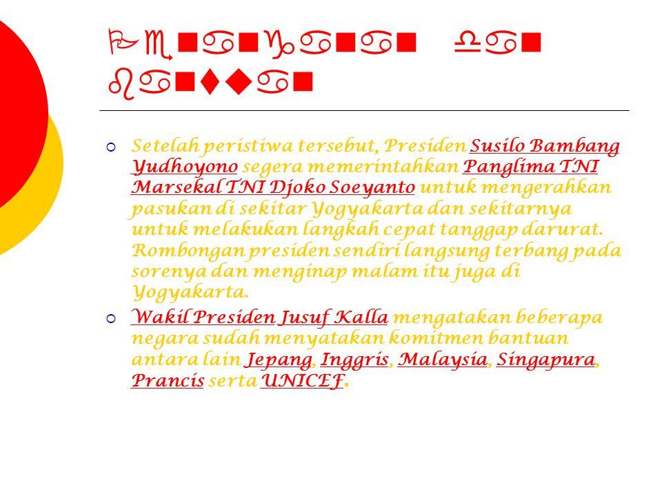 Penanganan dan bantuan  Setelah peristiwa tersebut, Presiden Susilo Bambang Yudhoyono segera memerintahkan Panglima TNI Marsekal TNI Djoko Soeyanto u