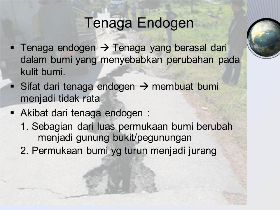 Tenaga Endogen TTenaga endogen  Tenaga yang berasal dari dalam bumi yang menyebabkan perubahan pada kulit bumi. SSifat dari tenaga endogen  memb