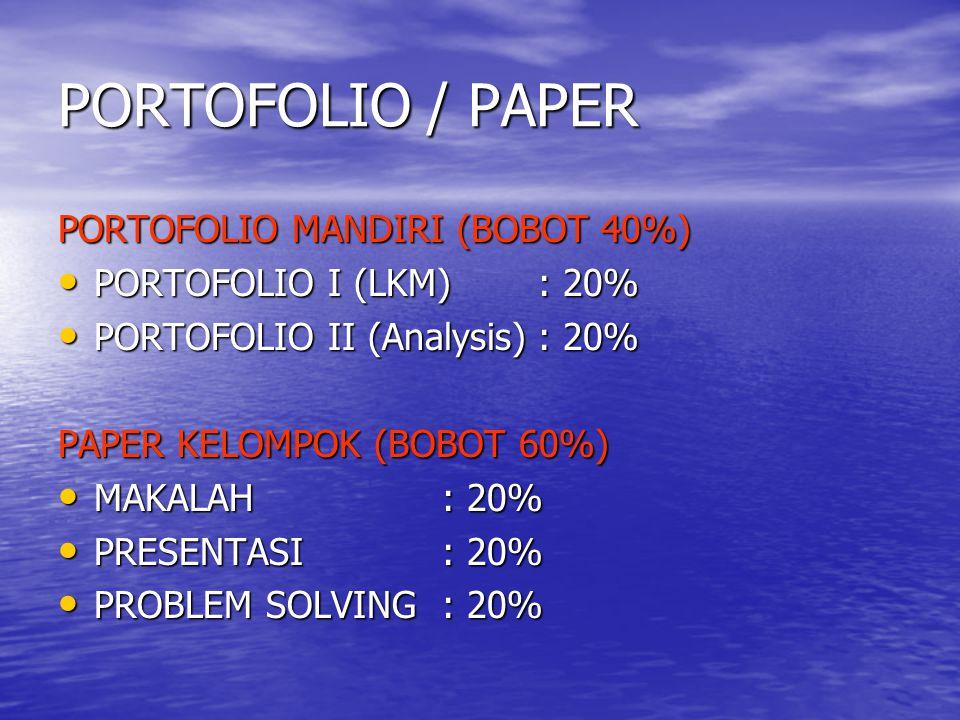 PORTOFOLIO / PAPER PORTOFOLIO MANDIRI (BOBOT 40%) PORTOFOLIO I (LKM): 20% PORTOFOLIO I (LKM): 20% PORTOFOLIO II (Analysis): 20% PORTOFOLIO II (Analysi