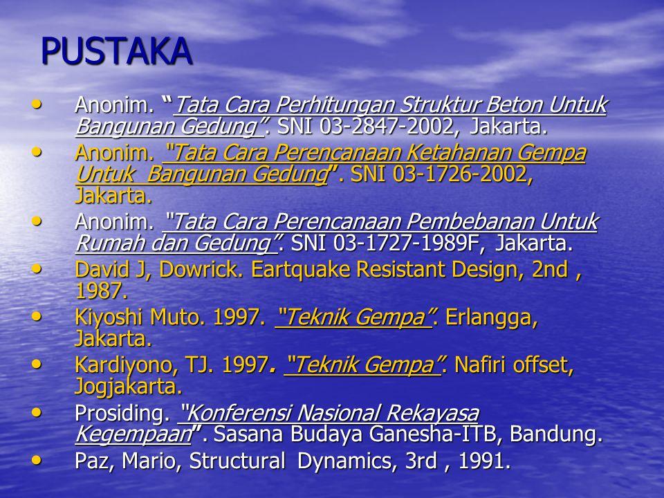 "PUSTAKA Anonim. ""Tata Cara Perhitungan Struktur Beton Untuk Bangunan Gedung"". SNI 03-2847-2002, Jakarta. Anonim. ""Tata Cara Perhitungan Struktur Beton"