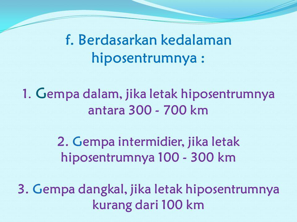 e. Berdasarkan arah getarannya : 1. Gempa vertikal : arah getarannya vertikal 2. Gempa horisontal : arah getarannya horisontal