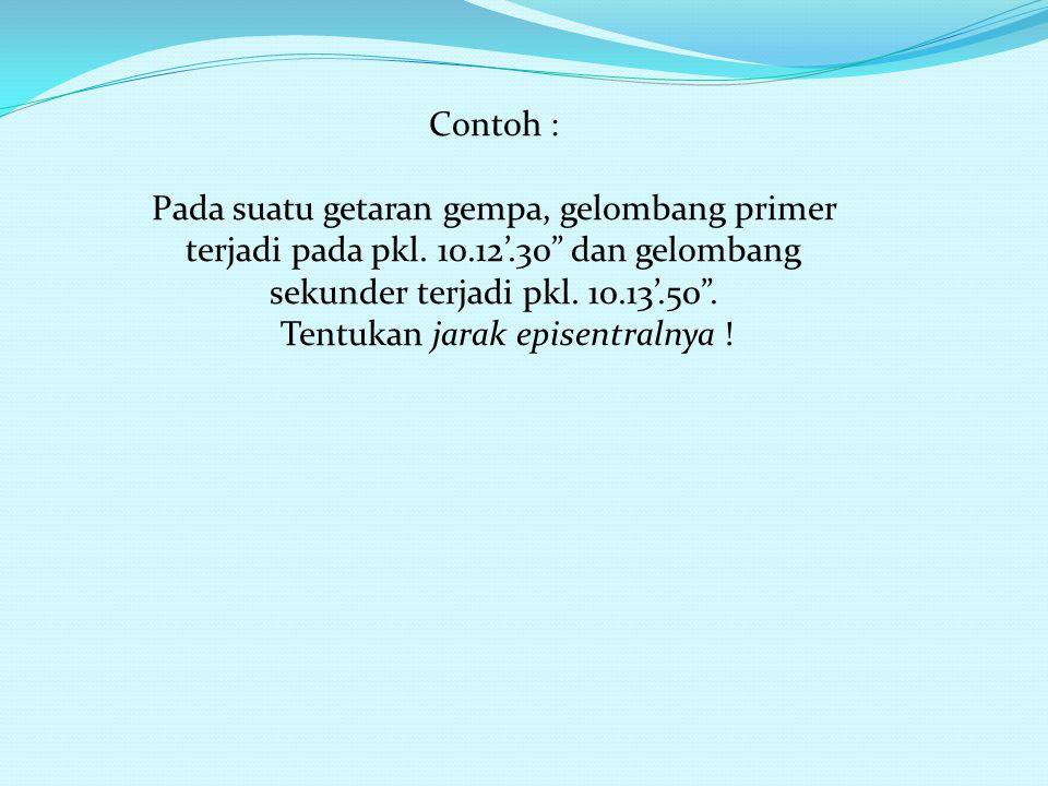 Contoh : Pada suatu getaran gempa, gelombang primer terjadi pada pkl.