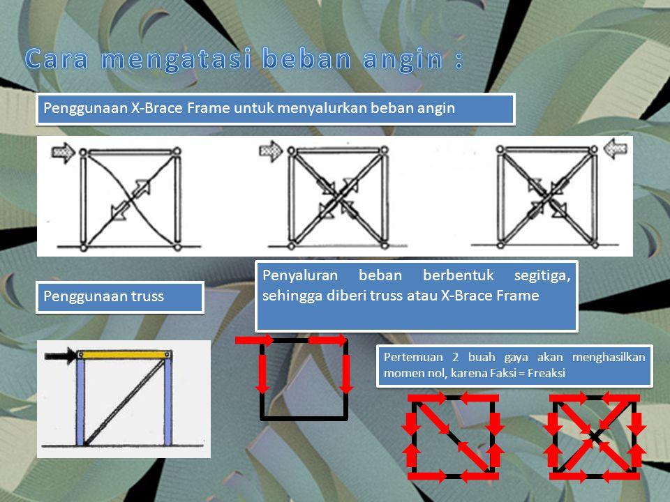 Penggunaan X-Brace Frame untuk menyalurkan beban angin Penggunaan truss Penyaluran beban berbentuk segitiga, sehingga diberi truss atau X-Brace Frame
