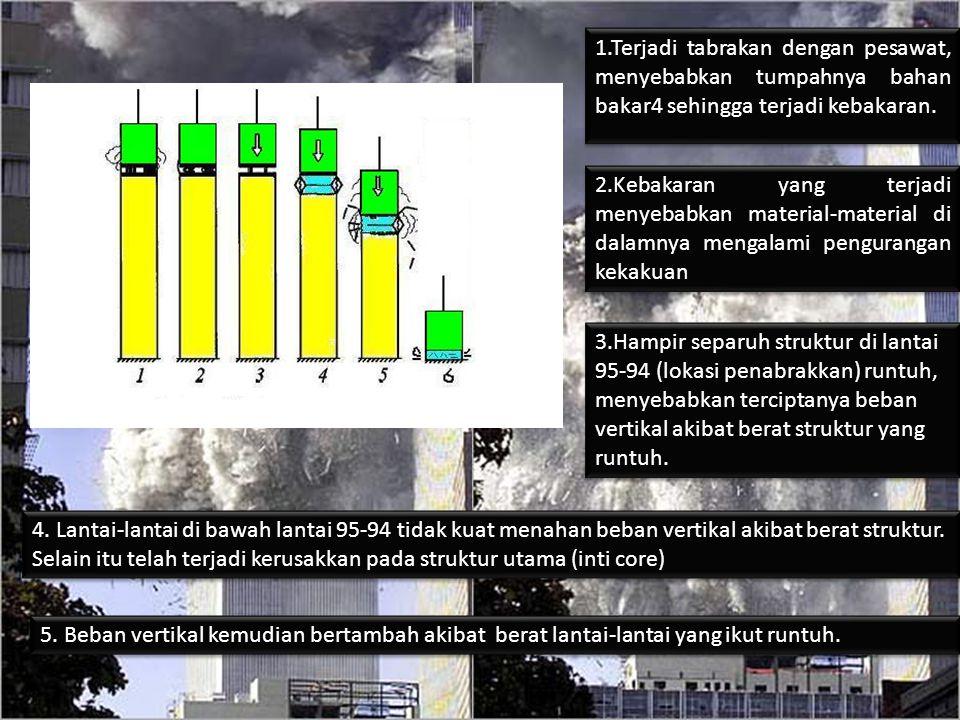 1.Terjadi tabrakan dengan pesawat, menyebabkan tumpahnya bahan bakar4 sehingga terjadi kebakaran. 2.Kebakaran yang terjadi menyebabkan material-materi