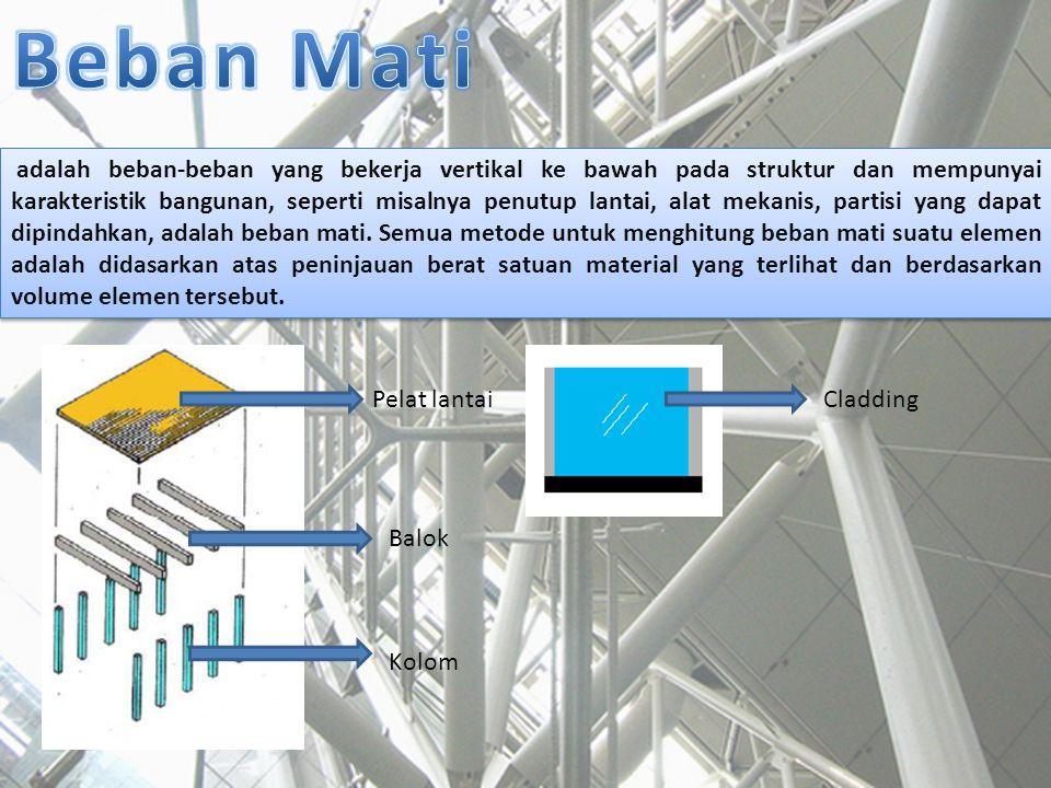 adalah beban-beban yang bekerja vertikal ke bawah pada struktur dan mempunyai karakteristik bangunan, seperti misalnya penutup lantai, alat mekanis, p