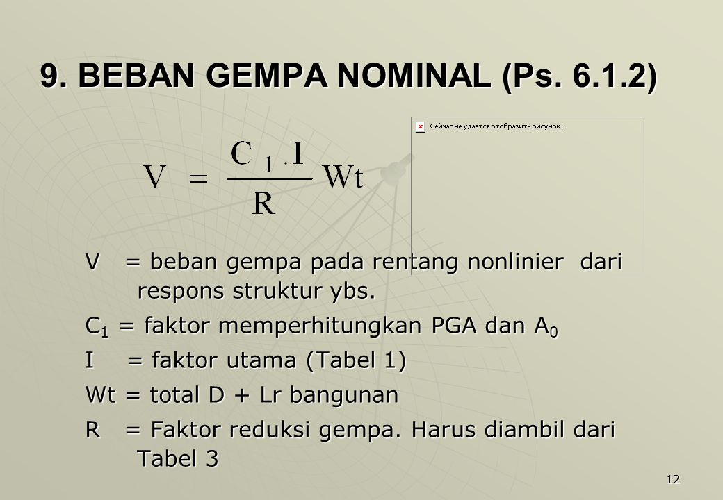12 9.BEBAN GEMPA NOMINAL (Ps. 6.1.2) 9. BEBAN GEMPA NOMINAL (Ps.