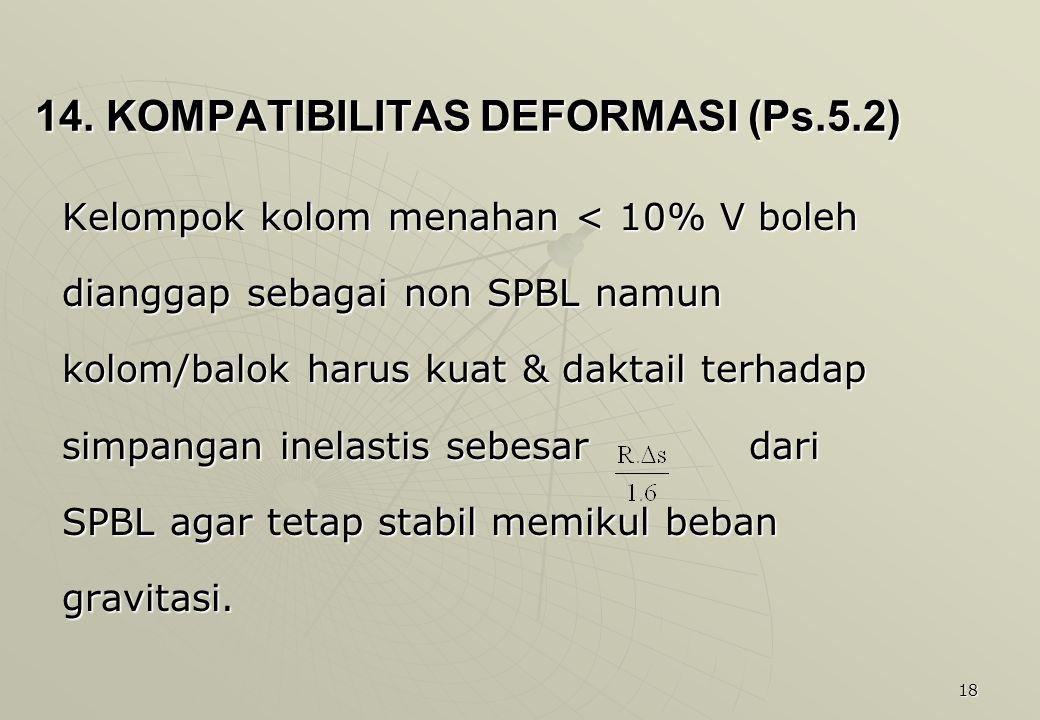 18 14. KOMPATIBILITAS DEFORMASI (Ps.5.2) Kelompok kolom menahan < 10% V boleh dianggap sebagai non SPBL namun kolom/balok harus kuat & daktail terhada