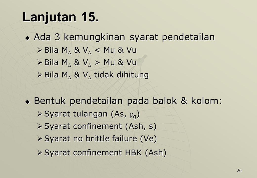 20 Lanjutan 15.  Ada 3 kemungkinan syarat pendetailan  Bila M  & V  < Mu & Vu  Bila M  & V  > Mu & Vu  Bila M  & V  tidak dihitung  Bentuk