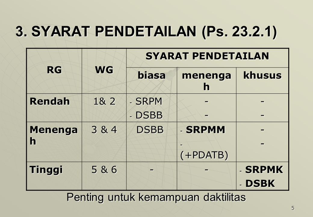 5 3. SYARAT PENDETAILAN (Ps. 23.2.1) RGWG SYARAT PENDETAILAN biasa menenga h khusus Rendah 1& 2 - SRPM - DSBB ---- Menenga h 3 & 4 DSBB DSBB - SRPMM -