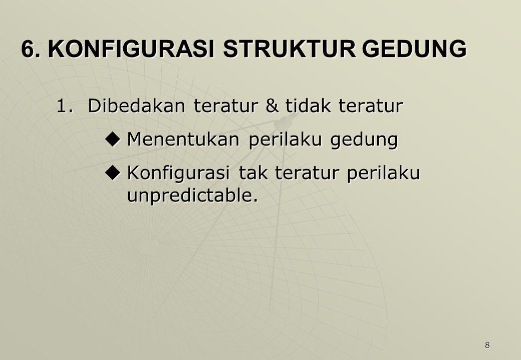 8 6. KONFIGURASI STRUKTUR GEDUNG 1.Dibedakan teratur & tidak teratur  Menentukan perilaku gedung  Konfigurasi tak teratur perilaku unpredictable.