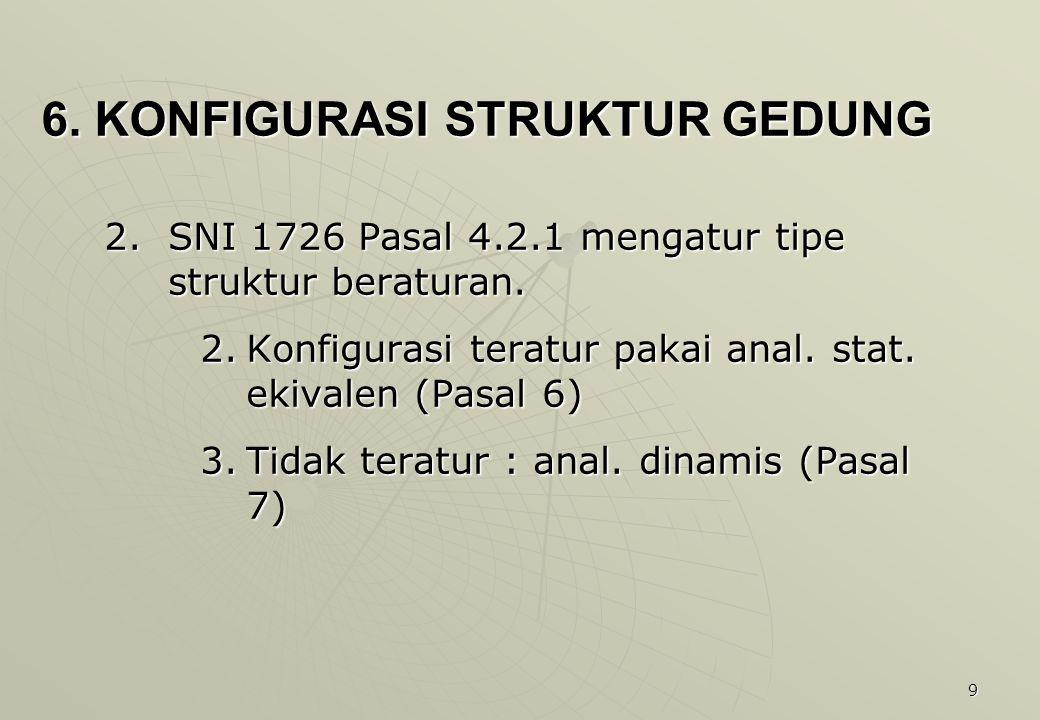 9 6. KONFIGURASI STRUKTUR GEDUNG 2.SNI 1726 Pasal 4.2.1 mengatur tipe struktur beraturan. 2.Konfigurasi teratur pakai anal. stat. ekivalen (Pasal 6) 3