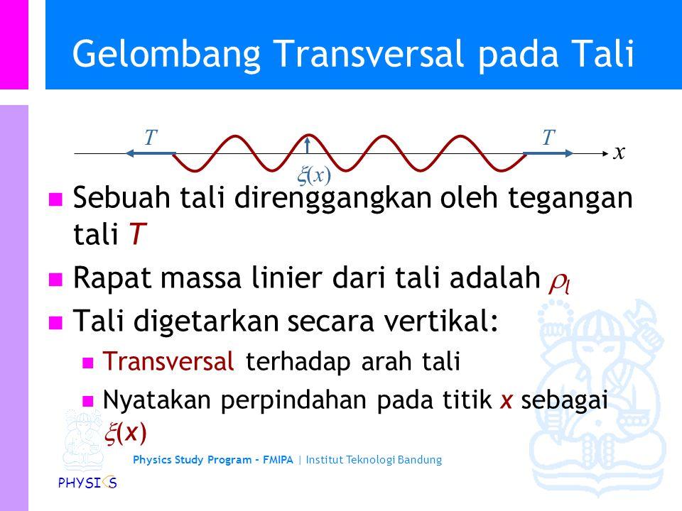 Physics Study Program - FMIPA | Institut Teknologi Bandung PHYSI S Gelombang Transversal pada Tali Sebuah tali direnggangkan oleh tegangan tali T Rapat massa linier dari tali adalah  l Tali digetarkan secara vertikal: Transversal terhadap arah tali Nyatakan perpindahan pada titik x sebagai  (x) TT x (x)(x)