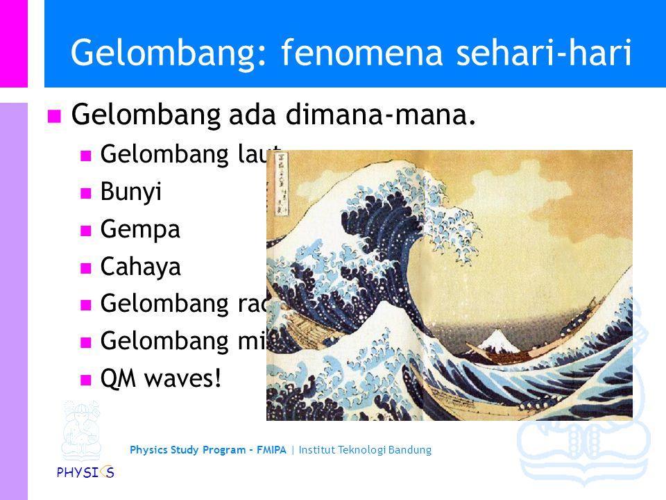 Physics Study Program - FMIPA | Institut Teknologi Bandung PHYSI S Gelombang: fenomena sehari-hari Gelombang ada dimana-mana.