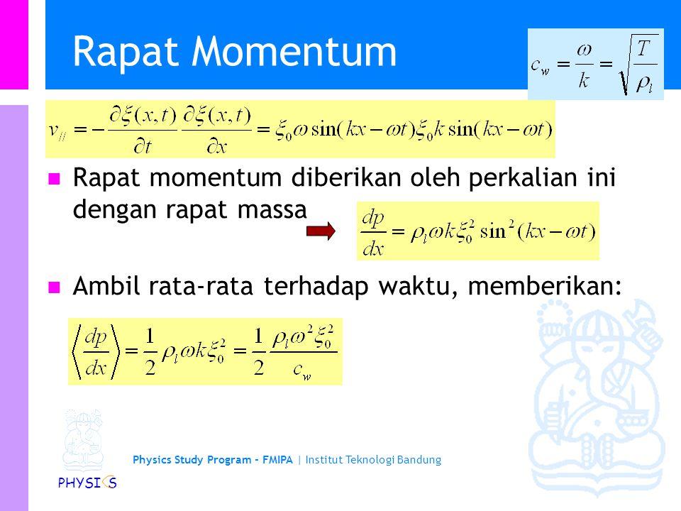 Physics Study Program - FMIPA | Institut Teknologi Bandung PHYSI S Rapat Momentum Rapat momentum diberikan oleh perkalian ini dengan rapat massa Ambil rata-rata terhadap waktu, memberikan: