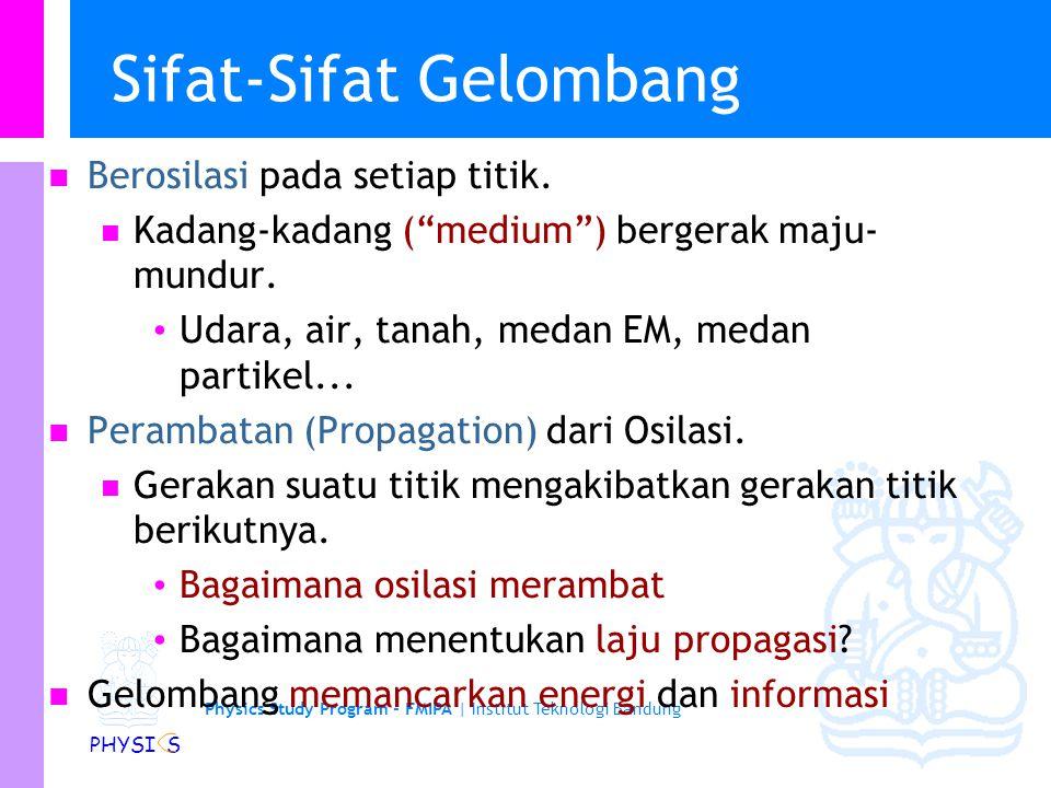 Physics Study Program - FMIPA | Institut Teknologi Bandung PHYSI S Sifat-Sifat Gelombang Berosilasi pada setiap titik.