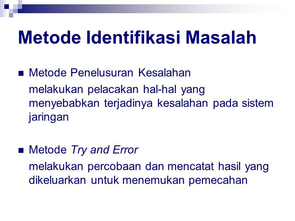Metode Identifikasi Masalah Metode Penelusuran Kesalahan melakukan pelacakan hal-hal yang menyebabkan terjadinya kesalahan pada sistem jaringan Metode