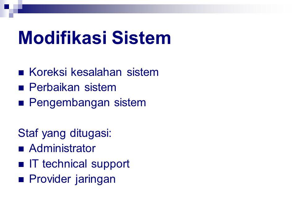 Modifikasi Sistem Koreksi kesalahan sistem Perbaikan sistem Pengembangan sistem Staf yang ditugasi: Administrator IT technical support Provider jaring