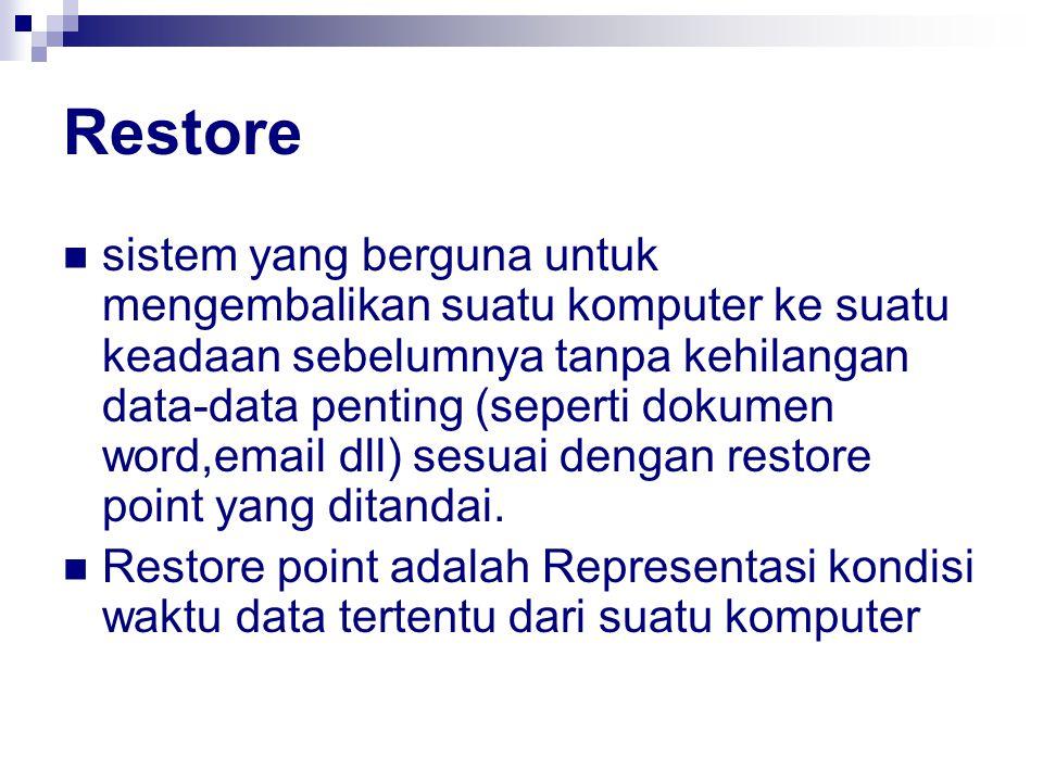 Restore sistem yang berguna untuk mengembalikan suatu komputer ke suatu keadaan sebelumnya tanpa kehilangan data-data penting (seperti dokumen word,em